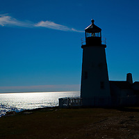 Silhouette of the famous Pemaquid Lighthouse near New Harbor Maine