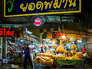 27 FEBRUARY 2019 - BANGKOK, THAILAND: The entrance to the Yodpiman Flower Market in Bangkok. Bangkok, a city of about 14 million, is famous for its raucous nightlife. But Bangkok's real nightlife is seen in its markets and street stalls, many of which are open through the night.        PHOTO BY JACK KURTZ
