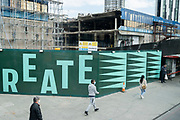 The interior structure of the Elephant & Castle Shopping Centre is being exposed for the public to see, during the building's ongoing demolition in south London, on 27th April 2021, in London, England.