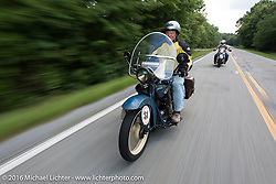 Clyde Crouch riding his 1929 Henderson KJ during Stage 3 of the Motorcycle Cannonball Cross-Country Endurance Run, which on this day ran from Columbus, GA to Chatanooga, TN., USA. Sunday, September 7, 2014.  Photography ©2014 Michael Lichter.