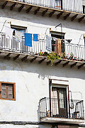 Traditional Spanish architecture in Calle el Medio street of  Laredo, Cantabria, Spain