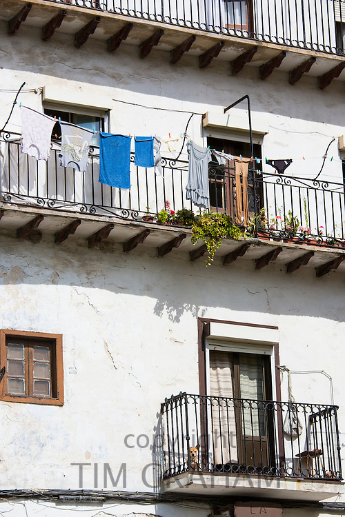 Traditional Spanish architecture in Calle el Medio street of  Laredo, Cantabria, Spain