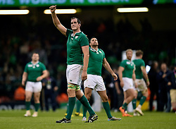 Devin Toner of Ireland celebrates at the final whistle - Mandatory byline: Patrick Khachfe/JMP - 07966 386802 - 11/10/2015 - RUGBY UNION - Millennium Stadium - Cardiff, Wales - France v Ireland - Rugby World Cup 2015 Pool D.