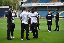 Derby County players on the pitch before kick off