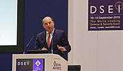 London, United Kingdom - 11 September 2019<br /> The Rt Hon Ben Wallace MP. Secretary of State for Defence for the UK Government presents keynote address speech to audience at DSEI 2019 security, defence and arms fair at ExCeL London exhibition centre.<br /> (photo by: HAUSARTS / EQUINOXFEATURES.COM)<br /> Picture Data:<br /> Photographer: Hausarts<br /> Copyright: ©2019 Equinox Licensing Ltd. +443700 780000<br /> Contact: Equinox Features<br /> Date Taken: 20190911<br /> Time Taken: 12350847<br /> www.newspics.com
