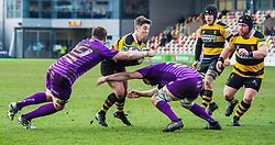 Newport's Matt O'Brien is tackled by Ebbw Vale's Lance Randall and Kristian Parker - Mandatory by-line: Craig Thomas/Replay images - 04/02/2018 - RUGBY - Rodney Parade - Newport, Wales - Newport v Ebbw Vale - Principality Premiership
