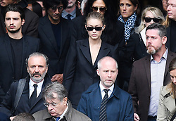 Gigi Hadid leaving the funeral service for late photographer Peter Lindbergh held at Saint Sulpice church in Paris, France on September 24, 2019. Photo by ABACAPRESS.COM