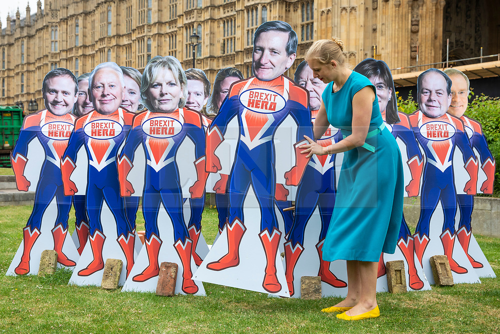 © Licensed to London News Pictures. FILE PICTURE: 20/06/2018. London, UK. Avaaz campaigner ANTONIA STAATS (right) arranges 'Brexit Hero' superhero models of the Tory Rebel MPs as Parliament prepares to vote on the EU Withdrawal Bill. Antonia Staats has reportedly been in a relationship with Government scientist Neil Ferguson, which involved the breaking of lockdown rules.  Photo credit: Rob Pinney/LNP