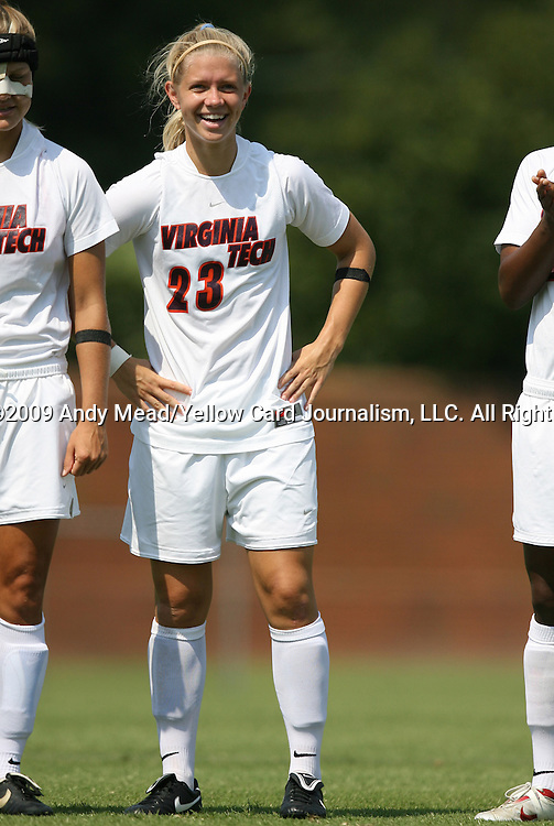 06 September 2009: Virginia Tech's Kelsey Billups. The Stanford University Cardinal defeated the Virginia Tech University Hokies 5-0 at UNCG Soccer Stadium in Greensboro, North Carolina in an NCAA Division I Women's college soccer game.
