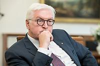 02 JUL 2018, BERLIN/GERMANY:<br /> Frank-Walter Steinmeier, Bundespraesident, waehrend einem Interview, Amtszimmer des Bundespraesidenten, Schloss Bellevue<br /> IMAGE: 20180702-01-053<br /> KEYWORDS: Bundespräsident