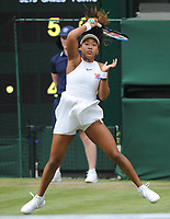 Tennis - 2019 Wimbledon Championships - Week One, Monday (Day One)<br /> <br /> Women's Singles, 1st Round: Yulia Putintseva (KAZ) v Naomi Osaka (JPN)<br /> <br /> Naomi Osaka on her way to defeat in straight sets on Centre Court <br /> <br /> COLORSPORT/ANDREW COWIE