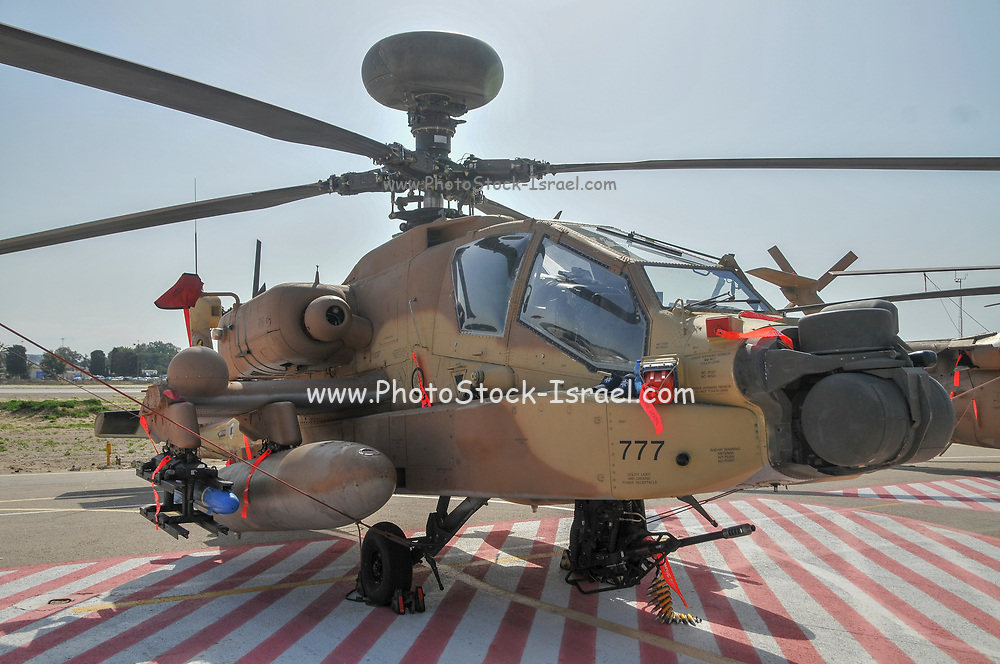 An Israeli Air force (IAF) exhibition. IAF Boeing Apache AH-64A (Peten) Helicopter on the ground