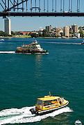 Sydney Water Taxi, Ferry, and the Sydney Harbour Bridge. Sydney, Australia