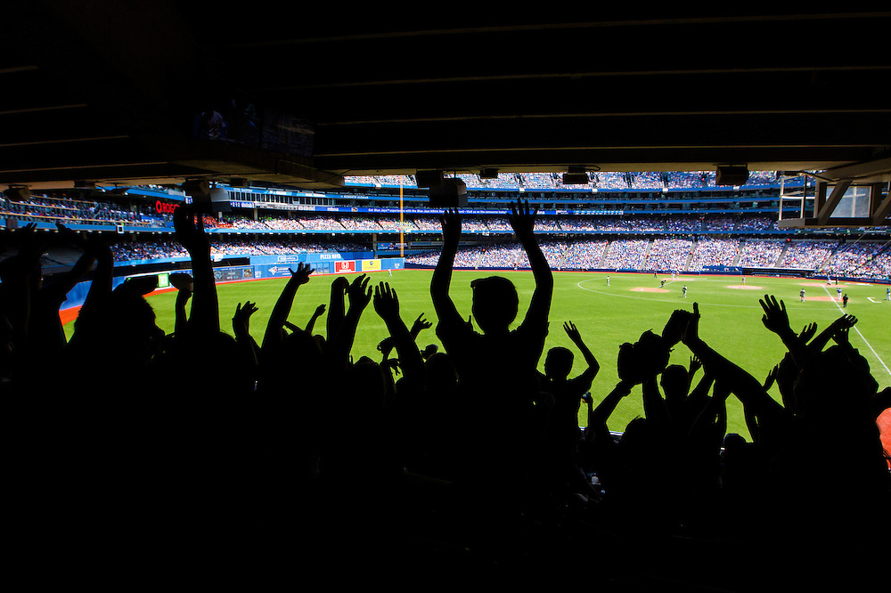 Toronto, Ontario - August 13, 2015 -- TORONTO BLUE JAYS --  Fans cheer as the Toronto Blue Jays play the Oakland Athletics during their MLB baseball game in Toronto, Thursday August 13, 2015.   (Mark Blinch for the Globe and Mail)