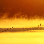 Rowers rowing through the mist as it rises off the water at sunrise. Photo Tim Clayton..