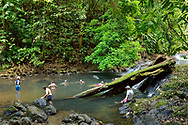 Tourists swim in a beautiful swimming hole on the Pargo river, Corcovado National Park, Costa Rica's largest national park.