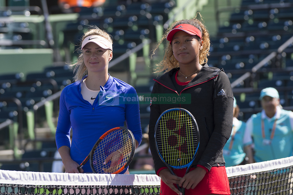 March 23, 2018 - Miami, FL, United States - MIAMI, FL - MARCH, 23: Naomi Osaka (JPN) and Elina Svitolina (UKR) pose at the net before playing at the 2018 Miami Open held at the Tennis Center at Crandon Park.   Credit: Andrew Patron/Zuma Wire (Credit Image: © Andrew Patron via ZUMA Wire)