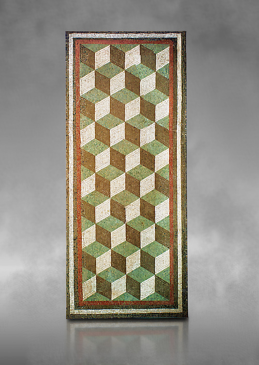 Roman geometric floor mosaic with diminutional cube designs, from a Roman villa near Casale de S.Basilio near Via Nomentana, Rome. 1st century BC. National Roman Museum, Rome, Italy .<br /> <br /> If you prefer to buy from our ALAMY PHOTO LIBRARY  Collection visit : https://www.alamy.com/portfolio/paul-williams-funkystock/national-roman-museum-rome-mosaic.html <br /> <br /> Visit our ROMAN ART & HISTORIC SITES PHOTO COLLECTIONS for more photos to download or buy as wall art prints https://funkystock.photoshelter.com/gallery-collection/The-Romans-Art-Artefacts-Antiquities-Historic-Sites-Pictures-Images/C0000r2uLJJo9_s0