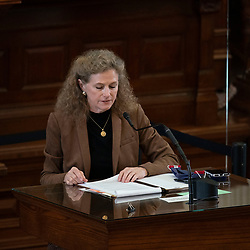 Austin, TX USA March 31, 2021:  State Rep. Donna Howard, D-Austin, on the floor of the Texas House of Representatives during routine bill readings at the 87th Texas legislative session. Emergency bills include power company regulation, border security and the coronavirus response.