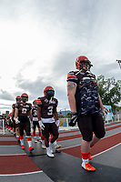 KELOWNA, BC - AUGUST 17:  Daniel TOWNSEND #66 and Malcom MILLER #3 of Okanagan Sun walk to the field against the Westshore Rebels at the Apple Bowl on August 17, 2019 in Kelowna, Canada. (Photo by Marissa Baecker/Shoot the Breeze)