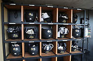 WINSTON-SALEM, NC - JUNE 02: Wake Forest batting helmets. The Wake Forest Demon Deacons hosted the University of Maryland Baltimore County Retrievers on June 2, 2017, at David F. Couch Ballpark in Winston-Salem, NC in NCAA Division I College Baseball Tournament Winston-Salem Regional Game 2. Wake Forest won the game 11-3.