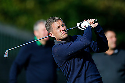 """Lee Mansell of Bristol Rovers (on """"The Egg Chasers"""" team) takes part in the Bristol Rovers charity golf day - Mandatory byline: Rogan Thomson/JMP - 07966 386802 - 12/10/2015 - GOLF - Farrington Park Golf Club - Bristol, England - Bristol Rovers Golf Day."""