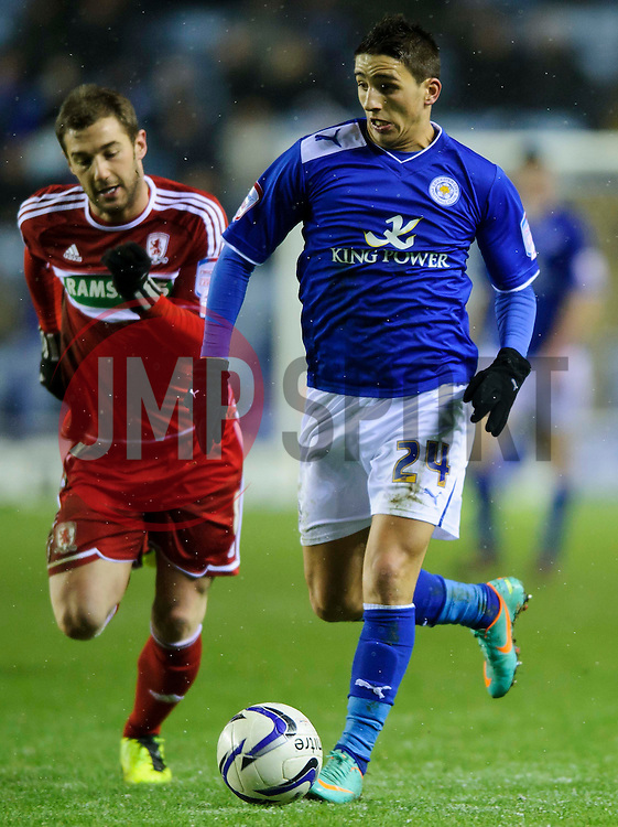 Leicester Forward Anthony Knockaert (FRA) breaks against Middlesbrough Midfielder Kevin Thomson (SCO) during the first half of the match - Photo mandatory by-line: Rogan Thomson/JMP - Tel: Mobile: 07966 386802 18/01/2013 - SPORT - FOOTBALL - King Power Stadium - Leicester. Leicester City v Middlesbrough - npower Championship.