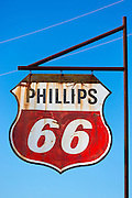 Old rusty Phillips 66 hanging sign in Louisiana, USA