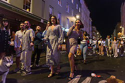© Licensed to London News Pictures. 05/06/2021. London, UK. Revellers enjoy a warm night out in Soho, central London. Photo credit: Marcin Nowak/LNP