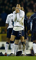 Photo. Jed Wee.<br /> Tottenham Hotspur v Middlesbrough, Carling Cup, White Hart Lane, London. 17/12/2003.<br /> Spurs' Gustavo Poyet misses a penalty in the shootout.