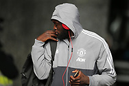 Romelu Lukaku of Manchester Utd arrives off the team coach ahead of the game. Premier league match, Swansea city v Manchester Utd at the Liberty Stadium in Swansea, South Wales on Saturday 19th August 2017.<br /> pic by  Andrew Orchard, Andrew Orchard sports photography.