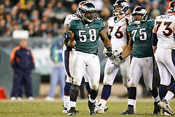 Philadelphia Eagles defensive end Trent Cole #58 reacts after a play during the NFL game between the Denver Broncos and the Philadelphia Eagles on December 27th 2009. The Eagles won 30-27 at Lincoln Financial Field in Philadelphia, Pennsylvania. (Photo By Brian Garfinkel)