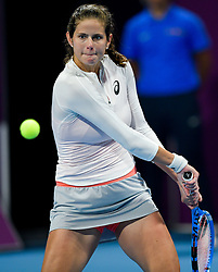 DOHA, Feb. 15, 2019  Julia Goerges of Germany hits a return during the women's singles quarterfinal between Simona Halep of Romania and Julia Goerges of Germany at the 2019 WTA Qatar Open in Doha, Qatar, Feb. 14, 2019. Julia Goerges lost 0-2. (Credit Image: © Nikku/Xinhua via ZUMA Wire)