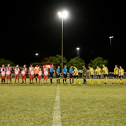 BRISBANE, AUSTRALIA - APRIL 13: Olympic FC and Moreton Bay players line up before the NPL Queensland Senior Men's Round 4 match between Olympic FC and Moreton Bay Jets at Goodwin Park on April 13, 2017 in Brisbane, Australia. (Photo by Patrick Kearney/Olympic FC)