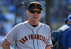 March 29, 2018 - Los Angeles, CA, U.S. - LOS ANGELES, CA - MARCH 29: Giants manager Bruce Bochy looks on during the MLB opening day game between the San Francisco Giants and the Los Angeles Dodgers on March 29, 2018 at Dodger Stadium in Los Angeles, CA. (Photo by Chris Williams/Icon Sportswire) (Credit Image: © Chris Williams/Icon SMI via ZUMA Press)