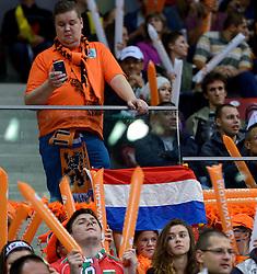 11-10-2015 BUL: Volleyball European Championship Nederland - Bulgarije, Sofia<br /> In een thriller tegen gastland Bulgarije verloor Nederland met 27-29, 25-20, 26-28, 25-23, 15-17 / Support, publiek Nederland, Oranje, vlaggen, sfeer