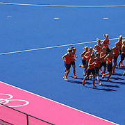 The dutch team warm up before the Australia V Holland women's hockey warm up match on the main hockey arena at Olympic Park, Stratford during the London 2012 Olympic games preparation at the London Olympics. London, UK. 22nd July 2012. Photo Tim Clayton