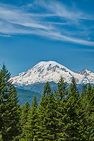 Mount Rainier photographed from the south on a gorgeous Pacific Northwestern summer day.