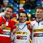 Germany's Bjoern Otto (L-R), Renaud Lavillenie of France and Brad Walker of the U.S celebrate celebrate their medals in the Men's pole vault competition during the victory ceremony during the IAAF World Indoor Championships at the Atakoy Athletics Arena, Istanbul, Turkey. Photo by TURKPIX