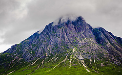 Even on a rainy, misty fourth of July Buachaille Etive Mor  in Glencoe looks impressive.  Buachaille Etive Mor is one of the best known and loved of all the Munro peaks in Scotland<br /> <br /> (c) Andrew Wilson | Edinburgh Elite media
