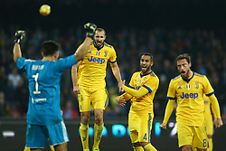 December 1, 2017 - Naples, Italy - Claudio Marchisio, Giorgio Chiellini and Gianluigi Buffon of Juventus celebration during the Serie A match between SSC Napoli and Juventus at Stadio San Paolo on December 1, 2017 in Naples, Italy. (Credit Image: © Matteo Ciambelli/NurPhoto via ZUMA Press)