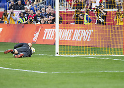 September 30, 2018 - Harrison, New Jersey, United States - Goalkeeper Brad Guzan (1) of Atlanta United FC saves penalty kick during regular MLS game against Red Bulls at Red Bull Arena Red Bulls won 2 - 0  (Credit Image: © Lev Radin/Pacific Press via ZUMA Wire)