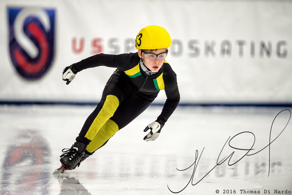 March 19, 2016 - Verona, WI - Tucker Vincent, skater number 83 competes in US Speedskating Short Track Age Group Nationals and AmCup Final held at the Verona Ice Arena.