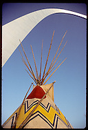 Teepee pitched below the St. Louis Arch during a folk festival on the national park grounds. Missouri