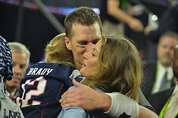 Tom Brady celebrates with his wife Gisele Bundchen after defeating the Falcons at Super Bowl LI at the NRG Stadium in Houston, TX, USA, on February 5, 2017. Photo by Lionel Hahn/ABACAPRESS.COM