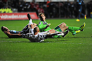 Jonjo Shelvey of Swansea City scores their second goal as Newcastle keeper Tim Krul looks on.<br /> Barclays Premier League match, Swansea city v Newcastle Utd at the Liberty stadium in Swansea, South Wales on Wednesday 4th Dec 2013. pic by Phil Rees, Andrew Orchard sports photography,