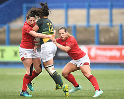 Wales Robyn Wilkins and Kevin Lake tackle South Africa Zinhle Ndawonde<br /> Wales Women v South Africa Women<br /> Autumn International<br /> <br /> Photographer Mike Jones / Replay Images<br /> Cardiff Arms Park<br /> 10th November 2018<br /> <br /> World Copyright © 2018 Replay Images. All rights reserved. info@replayimages.co.uk - http://replayimages.co.uk