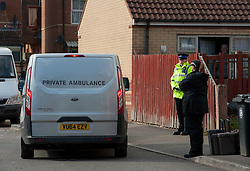© Licensed to London News Pictures.  03/03/2015, Bristol, UK.  A private ambulance leaves Barton Court, Barton Hill during the search for missing teenager Rebecca Watts aged 16 who left home a mile away in Crown Hill in the St George area of Bristol last Thursday. Police have carried out extensive searches across Bristol and today said they had found body parts in Barton Court.  A total of 7 people have now been arrested in connection with the case with 2 arrested on suspicion of the murder of Becky Watts, having previously been arrested on suspicion of kidnapping her.  Photo credit : Simon Chapman/LNP