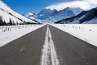 Icefields Parkway in winter, Mount Athabasca is in the distance, Jasper National Park Alberta Canada