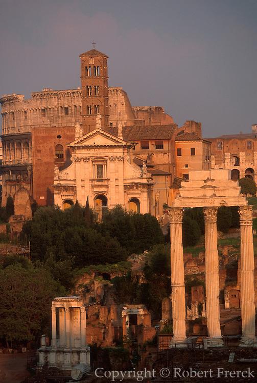 ITALY, ROME, ROMAN FORUM Castor Temple, Church and Colosseum
